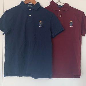 2x Pack men's Custom Slim Fit Polo Bear Polo Shirt